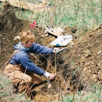 Deborah evaluating a soil limiting zone.