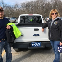 Nate and Deborah heading out to project.